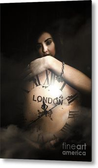 Mysteries Of Time Metal Art | Woman Standing In Shadows Behind The Face Of A Large Antique Clock Set To London Greenwich Mean Time | #timeless #metalart #metalprints #greenwich #londontime #londondecor #englishtheme #antiquedesign