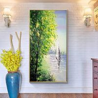 Acrylic paintings on canvas original palette knife painting tree and boat painting Wall Pictures Home Decor cuadros abstractos hand painted $129.00