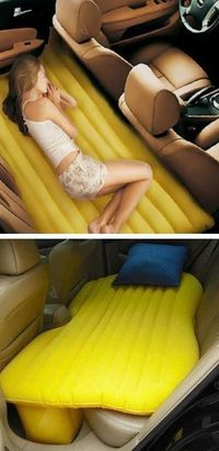 Stop off on your road trip in complete comfort with the inflatable car travel bed. This inflatable travel bed gives you a sleeping space on the back seat of you
