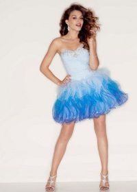 Ombre Blue Ruffled Short Tulle Prom Dress With Corset Back