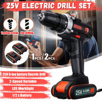 25V Cordless Power Drills Dual Speed Electric Drill W/ 1 or 2 Li-ion Battery