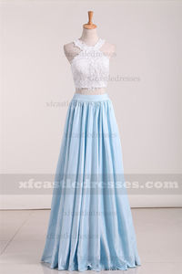 Blue Halter Long Lace Two Piece Prom Dresses