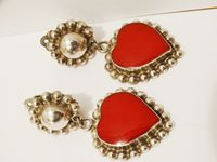 Jay King MINE Designer Signed Red Coral Dangling Heart earrings. Made in US. $178.75