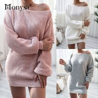 Off Shoulder Knitted Sweater Dresses For Women 2020 Autumn Winter Lantern Long Sleeve Dress Ladies Casual Dress Pink White Gray  US $16.99