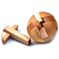 Wooden Puzzle Brain Teasers Toy Intelligence Game Sphere Magic Ball $23.80