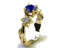 Filigree ring Gold ring Sapphire Ring Art Nouveau unique Engagement ring Solid Gold Flower design in Yellow gold $1658.00