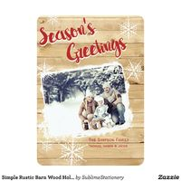 Simple Rustic Barn Wood Holiday Flat Card