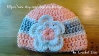 Peach Grey White Crochet Baby Girl Beanie Hat with by amydeming1, $15.50