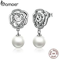 BAMOER New 100% Authentic 925 Sterling Silver Rose and Pearl Female Earrings TOP Quality Drop Earrings Jewelry SCE001 $27.00