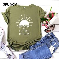 JFUNCY Plus Size Women Summer T Shirt Short Sleeve Printed T-Shirt 100% Cotton Woman Shirts Loose Casual Tee Tops Female Tshirts