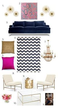 Color combo. Midnight blue, purple-ish/ fushia / hot pink mix. Not sure what colorI would call it. And gold accent pieces. Perfect master bedroom color combo.