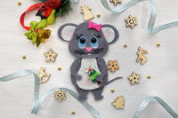 """Price: 10 USD International delivery Free Are you getting ready for Christmas and New Year? 2020 - the year of the Rat (Mouse) on the Eastern calendar. Looking for his home! The ornament is a handmade by 5Ksana. The """"Rat Symbol of the year ..."""