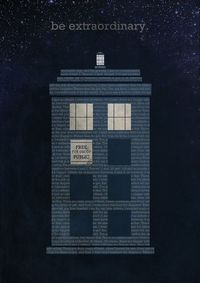 "i love the text ""fabric"" used as the body of the TARDIS....although I think this is paper, it's still brilliant inspiration! be extraordinary. 