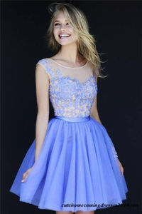 Floral Lace Sherri Hill 11171 High Neck Homecoming Dress