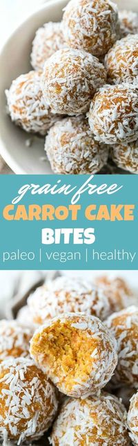 These Grain Free Carrot Cake Bites are paleo, vegan, refined sugar-free, and made with only 4 major ingredients! A perfect little healthy snack.