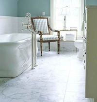 Carrara Marble Floor ~ I like the light airy color of the marble flooring.