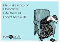 Funny Confession Ecard: Life is like a box of Chocolates. I ate them all. I don't have a life.