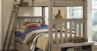 This bunk bed set features an all wood construction and clean lines that look great in any décor. Slat head and footboards offer a classic appeal. Included is a ladder and optional storage unit provides a spacious drawer for clothes and shelves for displ...