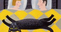 couple in bed with large black cat, �˜го�€�Œ Рима�ˆев�кий