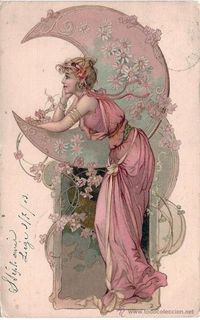 POSTCARD. ART NOUVEAU. WOMAN WITH MOON. CIRCULATED 1903 | See more about postcard art, vintage postcards and moon art.