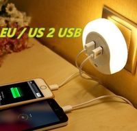 Intelligent sensor LED night light with 2 phone chargers $19.99