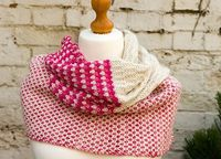 Stitch Block Cowl by Purl Soho. malabrigo Worsted in Natural, cactus Flower ans Strawberry Fields colorways.