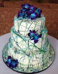 Wedding Cakes - The bride wanted a non-traditional artistic cake - we settled on a Jackson Pollock splatter cake - lots of fun!