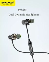 Awei X670BL Dual Dynamic Drivers Wireless bluetooth Earphone Magnetic Adsorption Sports Stereo Headphone with Mic