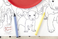 Puppy Party Decorations Table Runner Coloring Page Birthday Decor Pound Puppy Pawty Dog Themed Kids Table Childrens Group Craft Activity $25.88