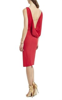 Red Bcbgmaxazria Adeline Asymmetrical Draped Short Dress
