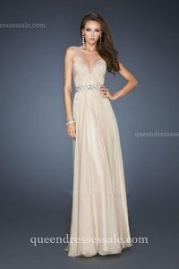 Pleated Bodice Nude Prom A-line Strapless La Femme 18457 Dresses 2014