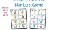 """""""I Have, Who Has"""" Numbers Game-great for number recognition and pronoun practice"""