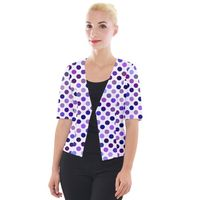 Shades Of Purple Polka Dots Cropped Button Cardigan
