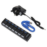 ONCHOICE 7Port USB 3.0 Hub On/Off Switch UK AC Power Adapter For Laptop Desktop