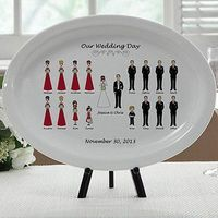 What a great Wedding Gift or Christmas Gift idea for the Newlyweds! It's a Personalized Wedding Gift Platter so it has the bride, groom and all of the bridal party characters! You get to choose from hair and skin color and you can pick the color of th...