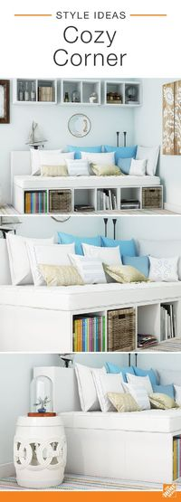 This cozy corner was created using cube storage units, adorable bedding and nautical-style accessories. The bright blue and crisp white colors keep the area looking light and cheerful while abundant shelving offers a chic storage solution to the room. Cli...