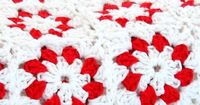 Red and White Cotton Flower Granny Square Blanket.