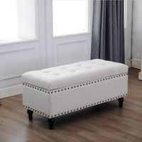 Circlelink Rectangular Storage Bench Chest with Tufted Cushion Top and Nail-Head Trim Cream $241.88
