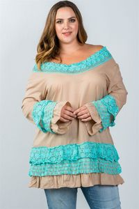 Ladies fashion plus size beige floral lace crochet tunic top $24.00 (20% off with CODE: BESTDEAL)