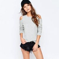 Must-have Oversized Student Style Off-the-Shoulder Scoop Neck One Color Casual 9/10 Sleeves Hoodie Top - Bonny YZOZO Boutique Store