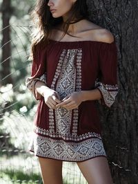 Embroidered Off-the-shoulder 3/4 Sleeves Mini Dress $51.00