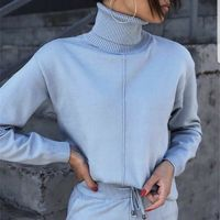 Ameya Turtleneck Sweater Knitted Pullover Two Piece Outfit Active Set www.fashionsqueen.com