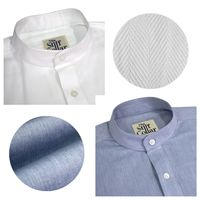 Blue Chambray and White Herringbone Nehru Collar Shirt Combo �'�2999.00
