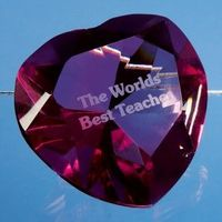 Engraved Pink Crystal Heart Paperweight