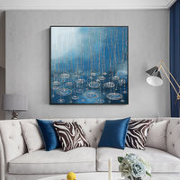 Framed painting Abstract Paintings on canvas falling rain Original acrylic white blue painting large wall pictures $140.00