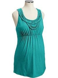 Maternity Braided-Yoke Jersey Tanks | Old Navy - I like the detail around the neck of this top.
