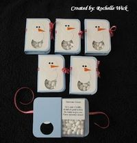 """""""Snowman Kisses""""--snowman cards made with tic-tacs. Template available"""
