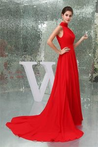 Simple A Line High Neck Long Red Chiffon Evening Prom Dress With Train