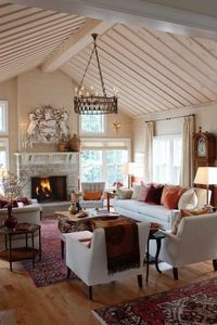 Great Room - keep seeing this design layout! Must work. Not my style though