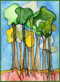 Sharpie and watercolor trees- nice for plants unit in science. could be the parts of a tree or a type of plant- cross-section with roots.
